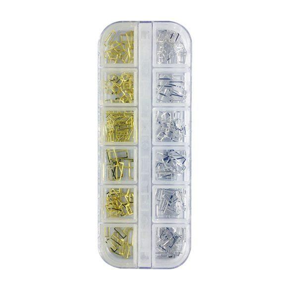 Gold-Silber Rechteckige Nageldekoration (In Box, 12 Arten)